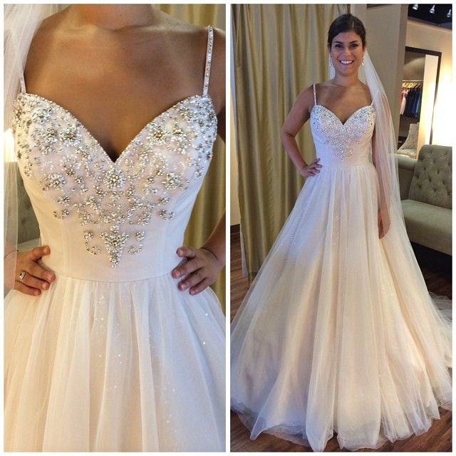 Crystal Design 2016 Wedding Dresses: Blush Tulle Wedding Dress With Rose Gold Beading, Also