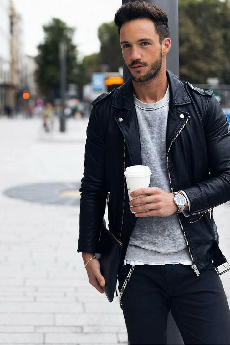 Leather jacket outfits mens