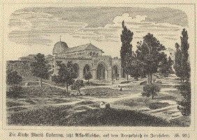 The Church of Our Lady sacrifice now Aqsa Moshee, on Temple Square in Jerusalem.  Wood engravings ca 1890