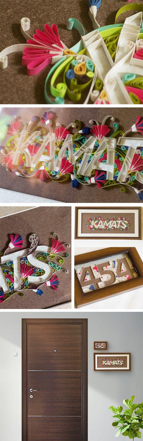 Quilled Name Plate ~ Kamat's on Behance, Neha Karnik