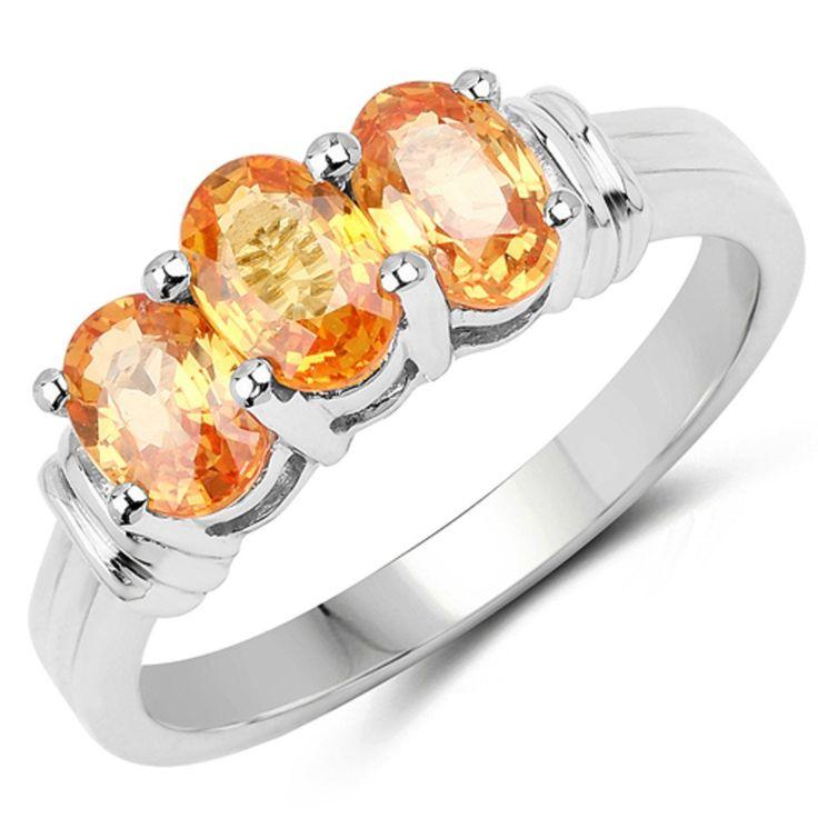Genuine Oval Orange Sapphire Ring in Sterling Silver - Size 7.00. Sterling Silver. Genuine Orange Sapphire.