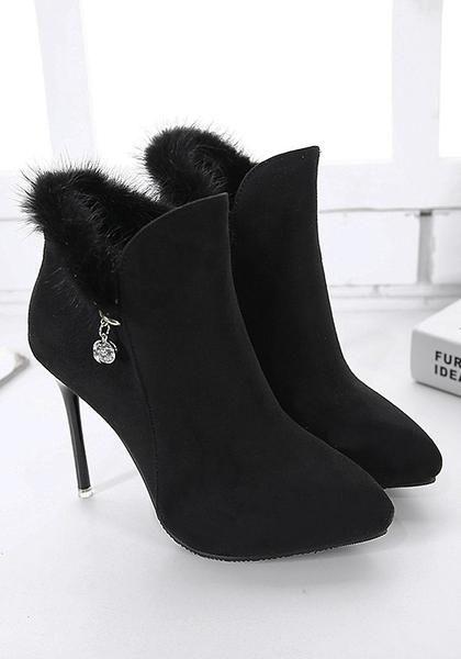 86c31b13e8 Black Point Toe Stiletto Faux Fur Patchwork Casual Ankle Boots ...