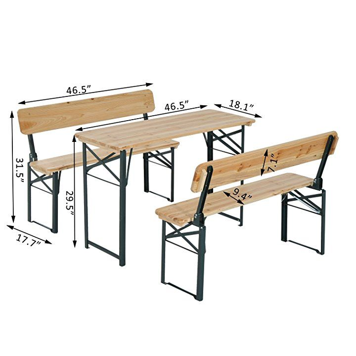 Marvelous Outsunny 46 Folding Heavy Duty 3Pc Wooden Picnic Table Gmtry Best Dining Table And Chair Ideas Images Gmtryco