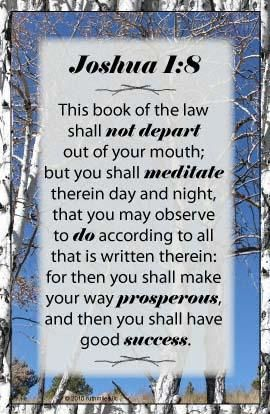 """Joshua 1:8 (I)This book of the law shall not depart from your mouth, but you shall meditate on it day and night, so that you may [d]be careful to do according to all that is written in it; (J)for then you will make your way prosperous, and then you will [e]have success. 9 Have I not commanded you? (K)Be strong and courageous! (L)Do not tremble or be dismayed, for the LORD your God is with you wherever you go."""""""