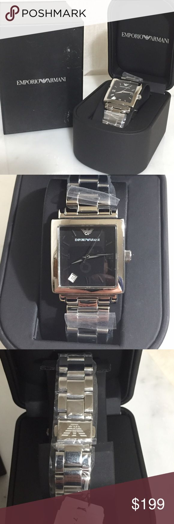 Emporia Armani Watch Model AR5303 Quartz movement Black face with silver tone hands and roman numbers at 3, 6, 9, stick at remaining numbers Analog date display at the 7 Stainless steel bracelet with push buttons clasp 50 meters water resistant Case is stainless steel. Watch width 3.2cm Face height 2.4 cm Size is unisex Emporio Armani Accessories Watches
