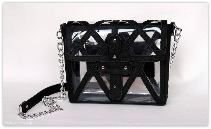 Clear stadium bag / Black  leather crossbody bag / Clear Cross Body Purse / Gift for her / Crossbody Bag / Every day / Gameday Purse by OplichLeatherGoods on Etsy