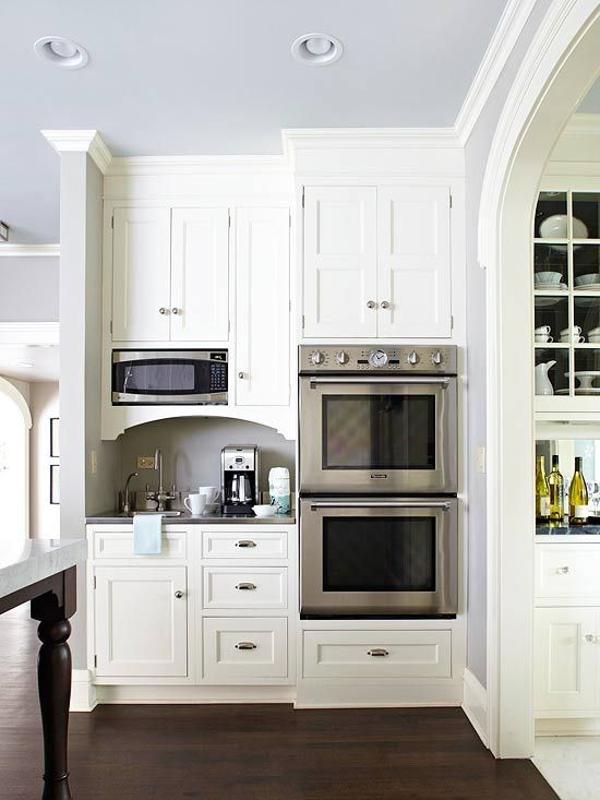 Borrow Nearby Space              To create adequate space within the footprint of the kitchen, square footage was borrowed from an adjoining room. This coffee bar and baking center fits comfortably in the hallway between the mudroom and the butler's pantry
