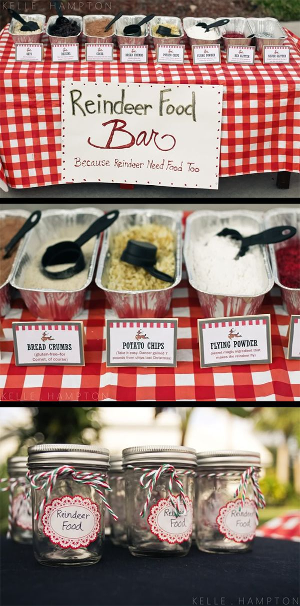 Reindeer Food Bar for guests to make their own special blend to take home...lots of cute ideas for a North Pole Party here!