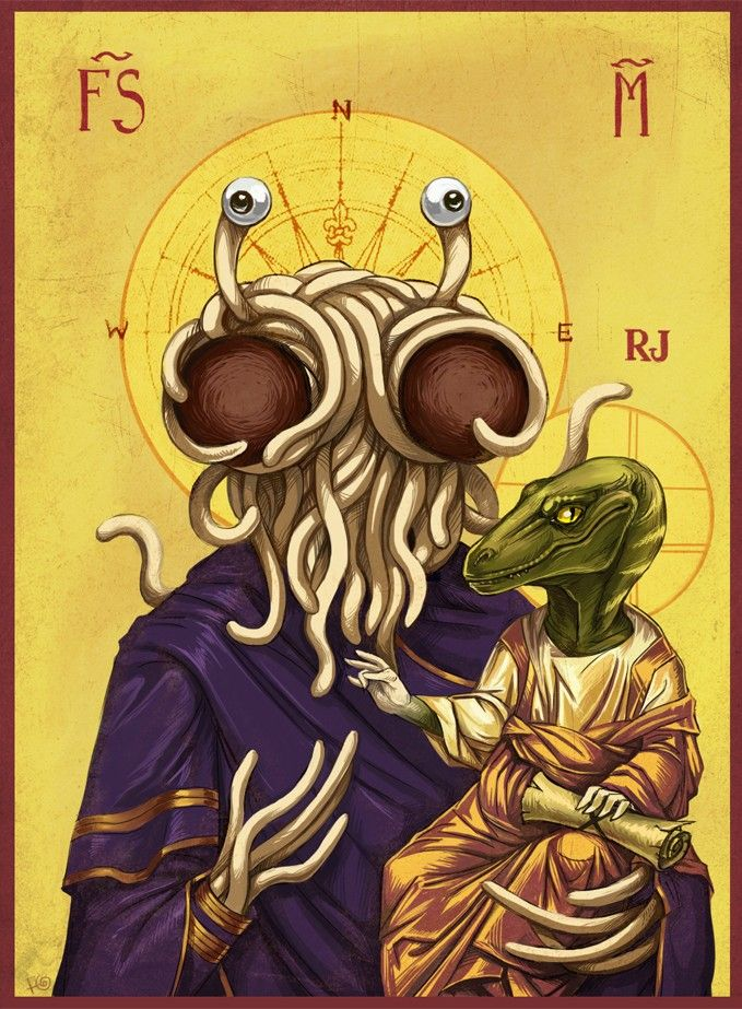 His Holy Noodleyness and Raptor Jesus. I'm not sure why this made me laugh so hard....