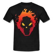Skull in fire T-shirt