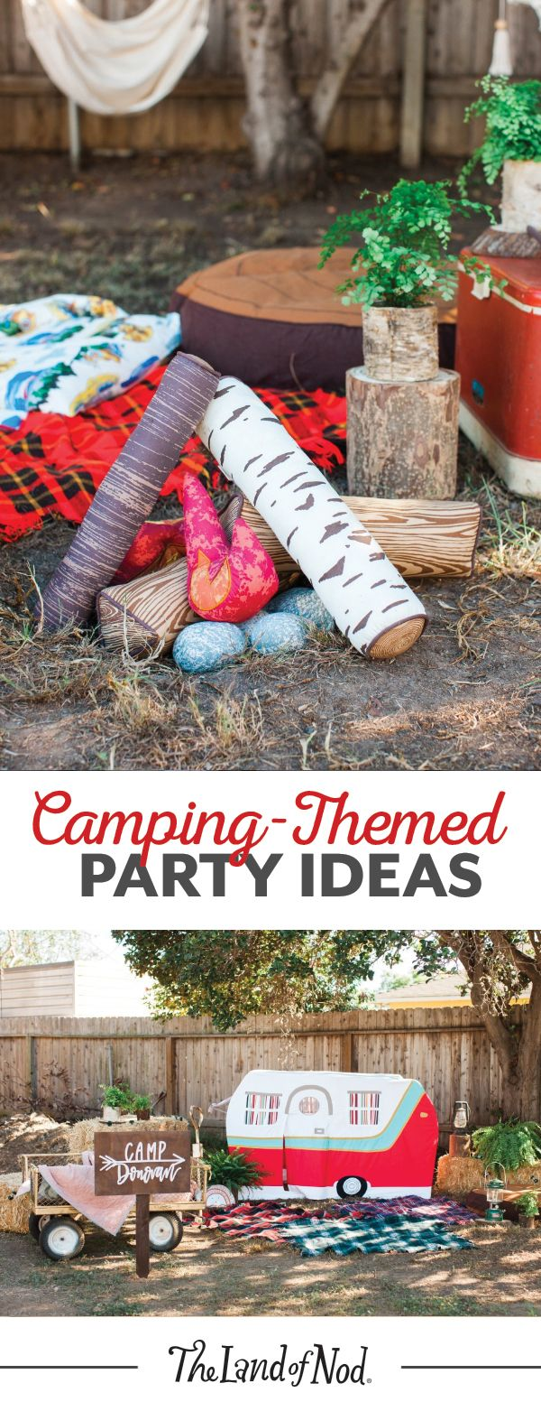 Throw a camping-themed summer birthday party for your kids right in your own backyard! It's easy—just add some woodsy details like our Jetaire Camper Playhouse and plush campfire set. Then, throw in tons of flannel and woodsy accents to create an inviting space for girls and boys.