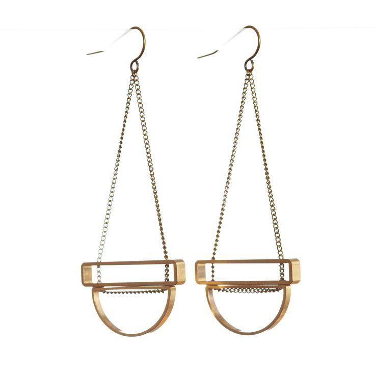 Half-moon and Rectangle Stack Earrings