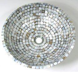 DeNovo Brown Mosaic Mother of Pearl Bathroom Vessel Sink Overstock ...
