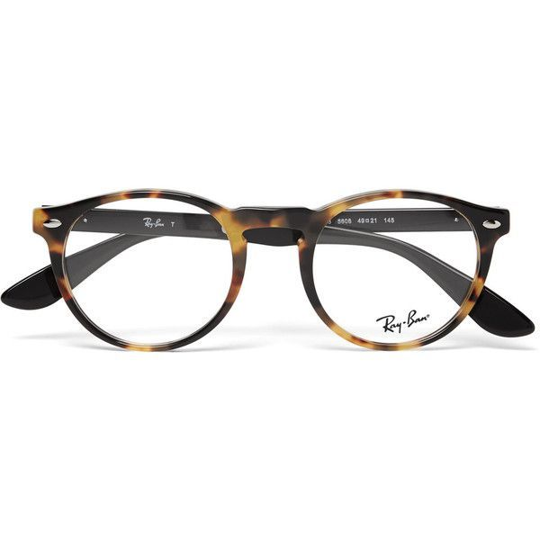 03841f4bb7 Ray-Ban Round-Frame Tortoiseshell Acetate Optical Glasses ❤ liked on  Polyvore featuring men s fashion