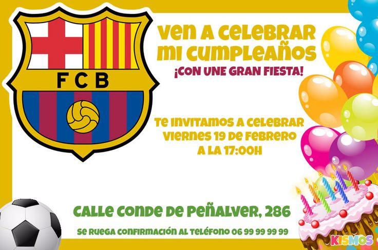 Invitación de cumpleaños Fútbol Club Barcelona gratis para personalizar en línea, imprimir y enviar en línea. Imagen del logo del FC Barcelona, globos de colores y una pelota de fútbol.