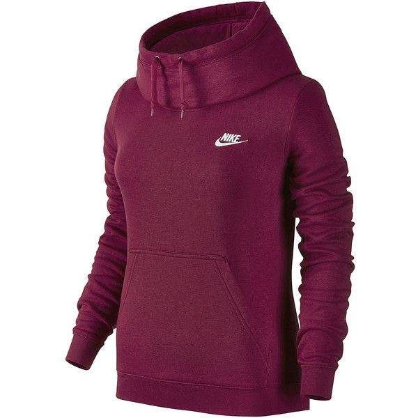 Nike Long Sleeve Cotton Hoodie ($50) ❤ liked on Polyvore featuring tops, hoodies, funnel collar hoodie, long sleeve hoodie, purple hoodie, hooded sweatshirt and cotton hooded sweatshirt