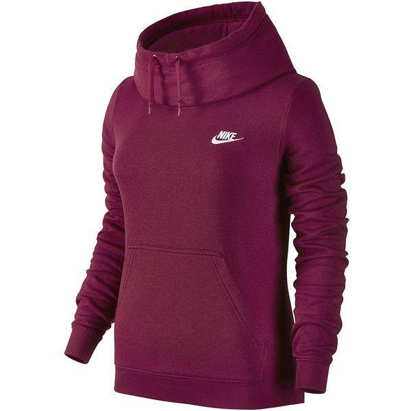 Nike Long Sleeve Cotton Hoodie ($50) ❤ liked on Polyvore featuring tops, hoodies, funnel collar hoodie, long sleeve hoodie, purple hoodie, hooded sweatshirt and cotton hooded sweatshirt