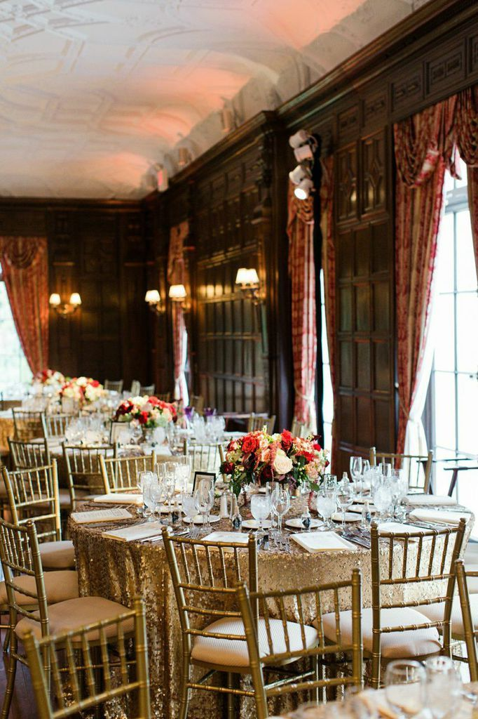 Cranberry And Gold New York Wedding At NYIT De Seversky Mansion Sequin TableclothModern Vintage WeddingsChic