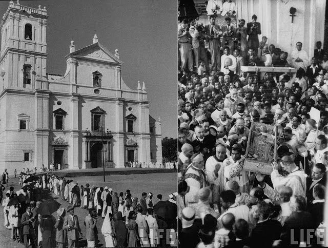 Peregrinos fazendo fila em Goa para tocar o corpo de São Francisco Xavier, em frente à porta da catedral. E, com o corpo de São Francisco Xavier a descoberto, padres levantam caixão para levá-lo ao sarcófago de prata na Catedral de Velha Goa. 1952.