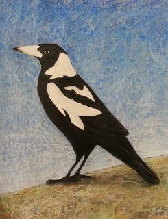 This is My Turf Magpie mixed media on paper Carolyn McIntosh: Drawings