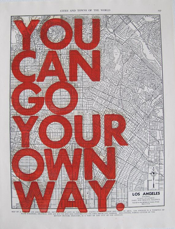Los Angeles / You Can Go Your Own Way/ Letter Press by amyriceart, $40.00