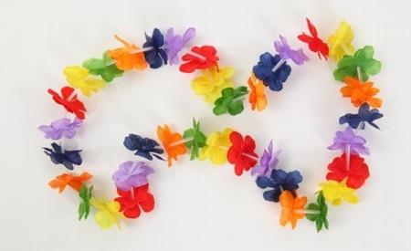 COLLAR HAWAIANO  Aprender cómo hacer collares hawaianos.  Necesitarán: hilo, papel o nylon, pajitas de colores y un molde para cortar las flores, pueden ver unos cuantos moldes de flores haciendo click aquí.
