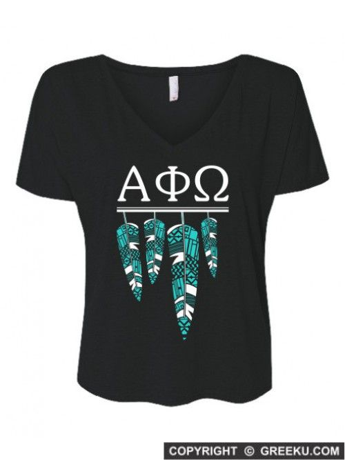 Alpha Phi Omega Tribal Feathers Slouchy V-neck Tee