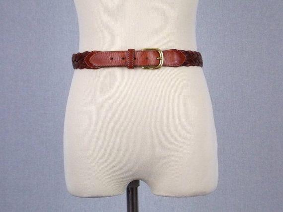En cuir marron ceinture - 34 pouces - Vintage 1970 s Boho ceinture tressée