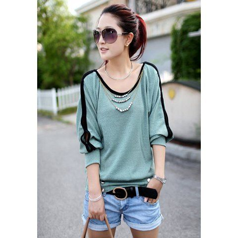 Stylish Scoop Neck Batwing Long Sleeve Necklace Embellished Women's T-Shirt, GREEN in Long Sleeves | DressLily.com