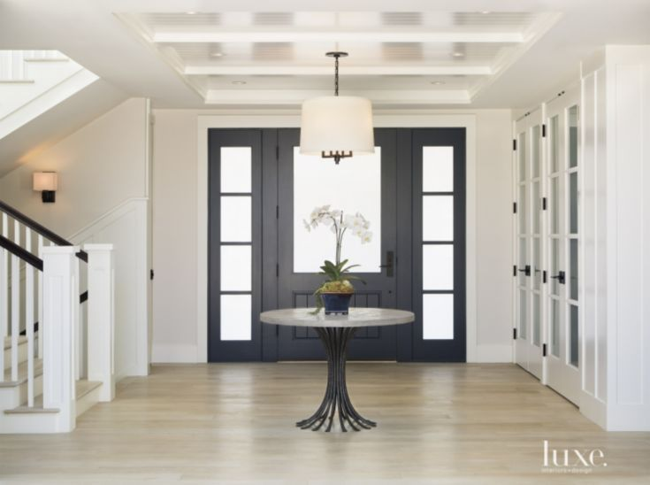Black Foyer Doors : Contemporary black and white foyer luxe entries