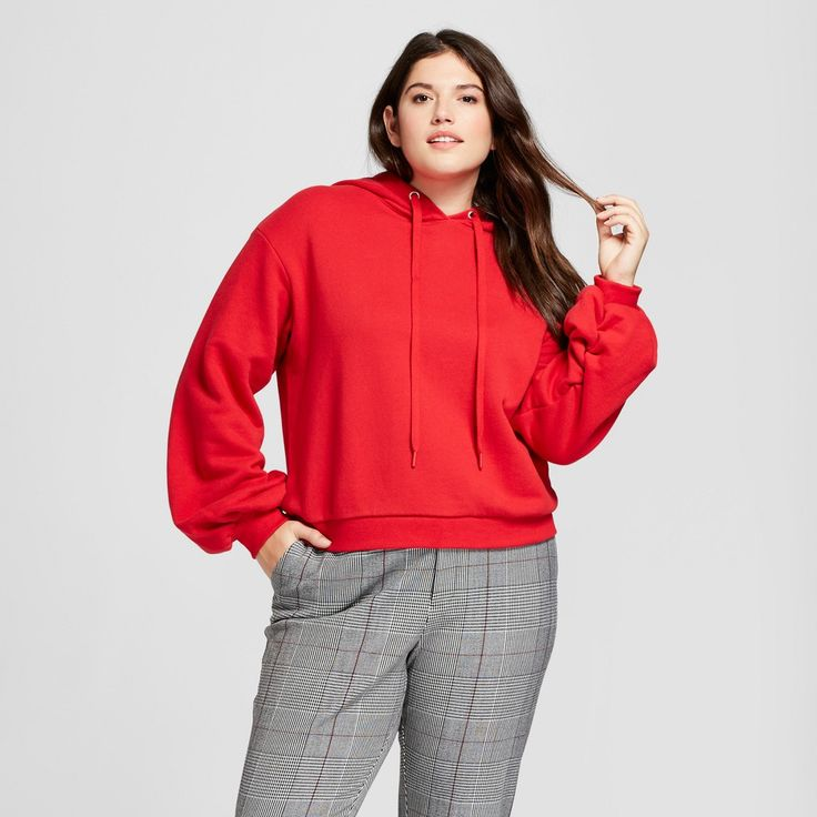 Women's Plus Size Scrunch Sleeve Hoodie - A New Day Red 4X