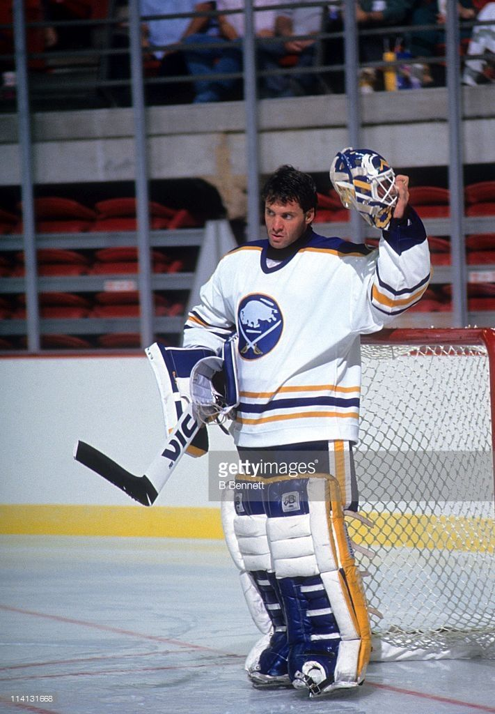 Goalie Clint Malarchuk Of The Buffalo Sabres Takes A Break During An