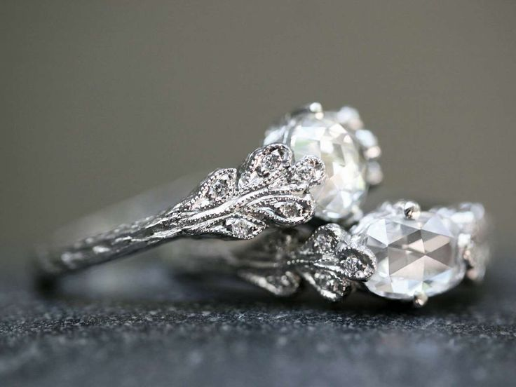 Cathy Waterman- Love of My Life: Page Nine - Rose Cut Double Leaf Diamond Rings- YLANG|23