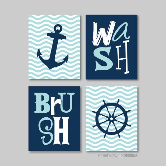 Nautical Bathroom Print Art   Bathroom Decor   Bathroom Art   Nautical Bath  Art   Boy Bathroom   Navy Blue Aqua   You Pick The Size Part 52
