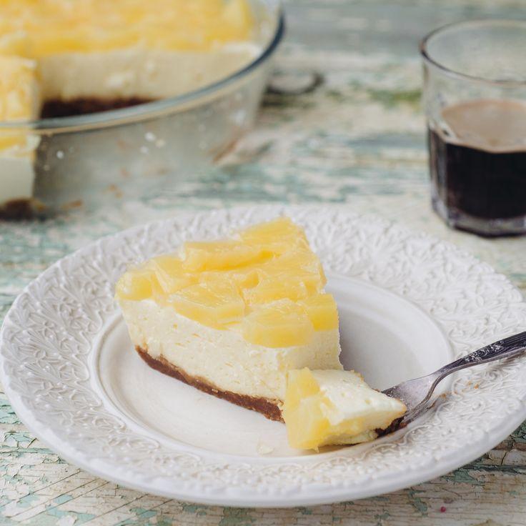 Kaastaart met speculaas en ananas