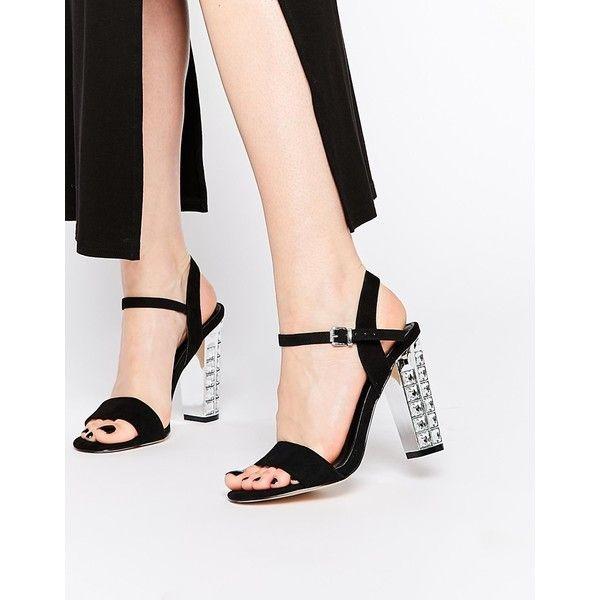 Carvela Leela Block Heeled Sandals ($135) ❤ liked on Polyvore featuring shoes, sandals, black suedette, black rhinestone sandals, rhinestone sandals, metallic sandals, black open toe shoes and block heel shoes