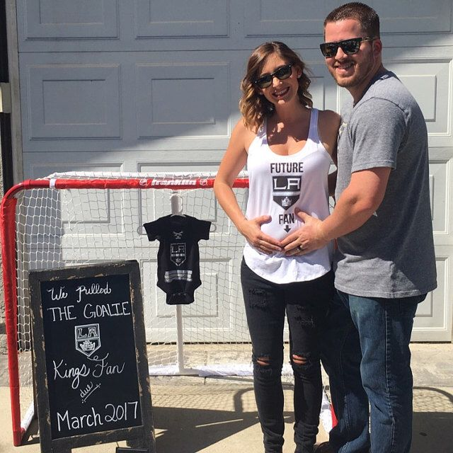 Baby announcement, hockey fan, la kings fan, hockey, la kings, new baby, we pulled the goalie, kids clothing, baby clothing.