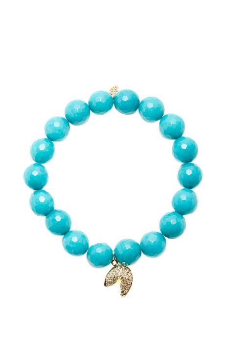 Sydney Evan 14k Turquoise Beaded Stretch Bracelet w/ Cross Charm CWet9a