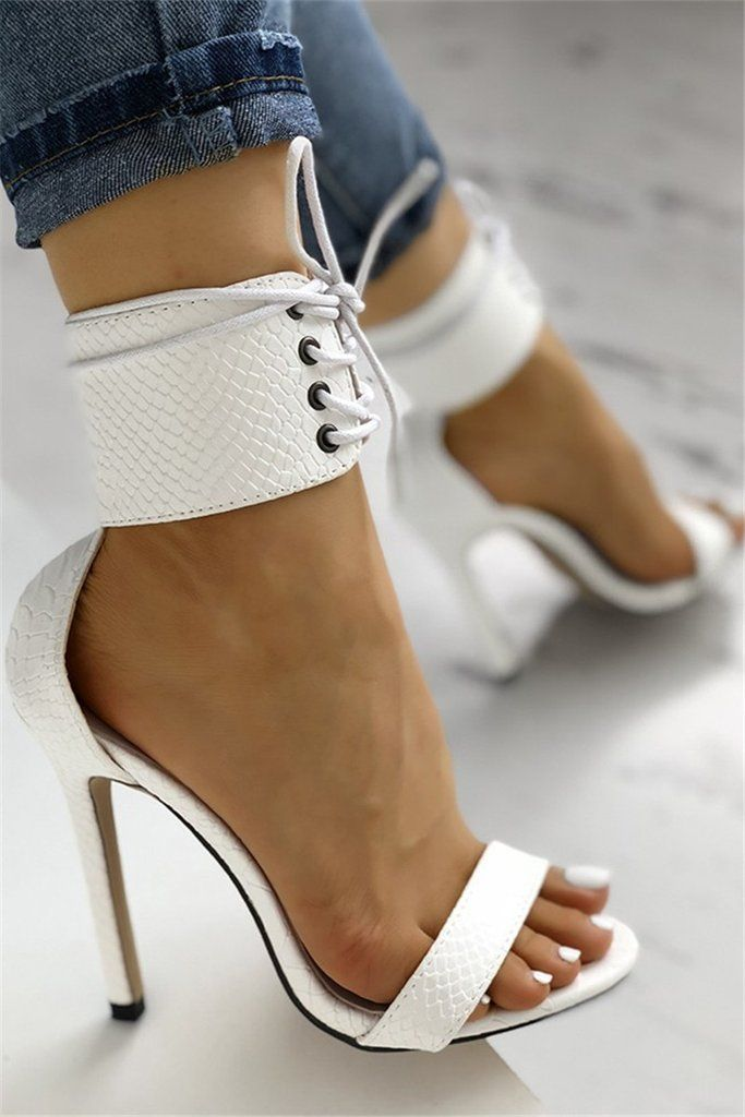Cut Out Lace Up Thin Heels Sandals