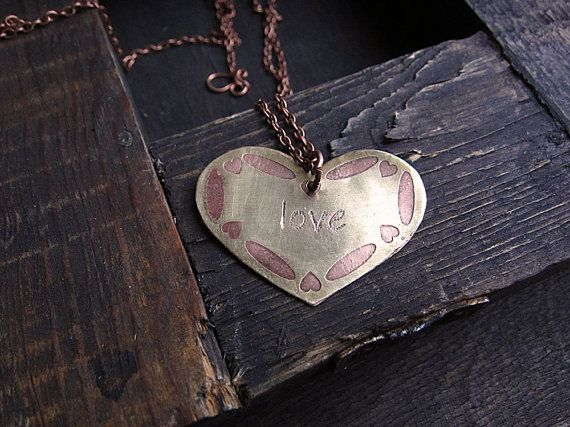 Brass pendant, gift for her, Valentine's day, rustic pendant, boho pendant, etched pendant, heart pendant