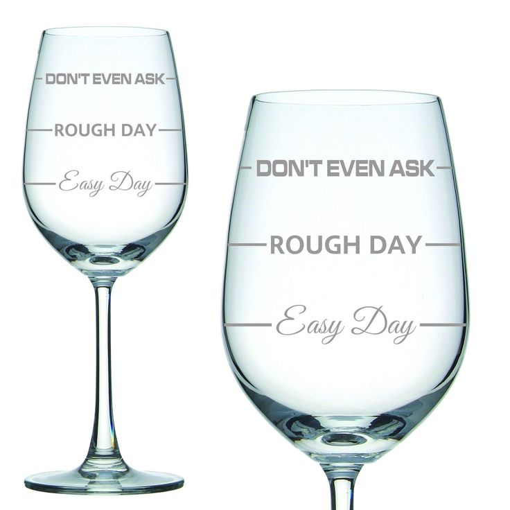 Popular Easy Day - Rough Day - Dont Even ask design, professionally Laser engraved 350ml white wine crystal glass. The perfect engraving for the wine lover. Makes a great mothers day present, birthday gift or even an anniversary present. We also have high quality silk lined, padded gift boxes. #GiftwareDirect #birthday