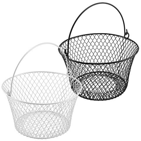 Bulk Round Plastic-Coated Wire Baskets with Handles at