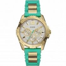 GUESS Multifunction Gold Green Rubber Strap W0325L4