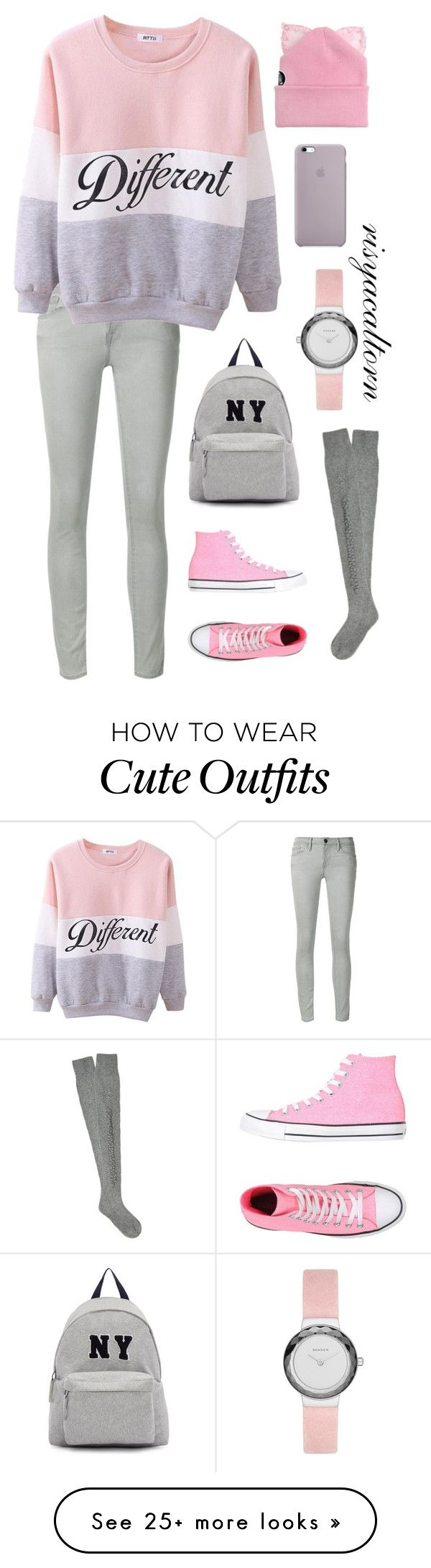 """Simple Hang Out Outfit"" by risyacaltorn on Polyvore featuring Frame Denim, Converse, Joshua's, Silver Spoon Attire, Barrie and Skagen"