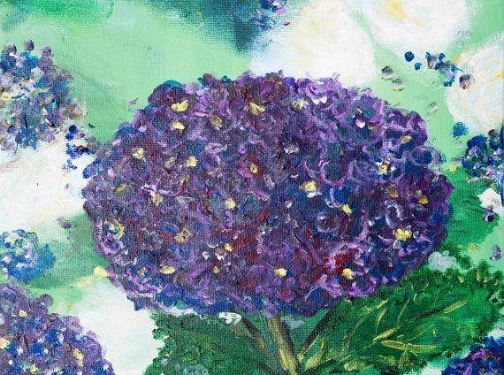 "Purple hydrangea bouquet, original modern art, contemporary, hydrangea still life, aqua blue, mint decor, wedding flowers, 10'' x 8"""