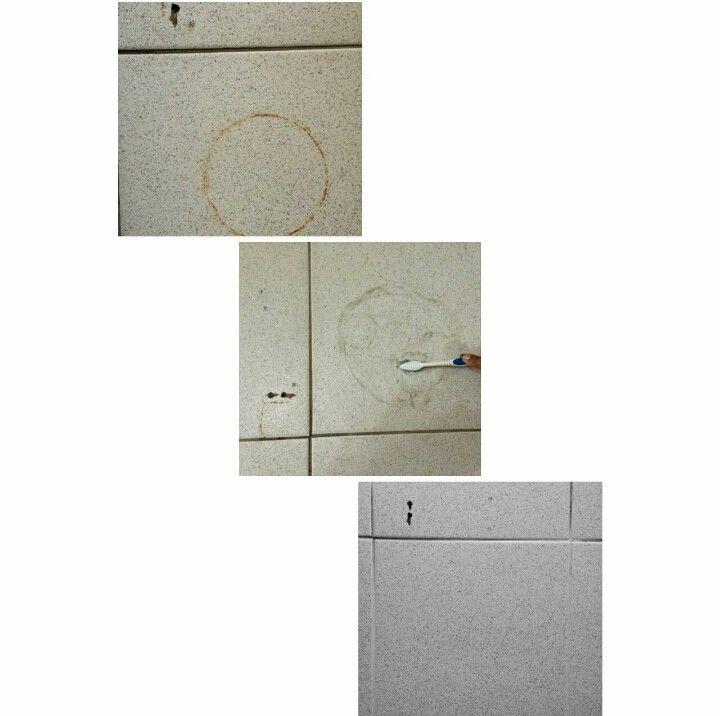 Demostración con nuestro Desmanchador de superficies, no daña el esmalte ni el brillo del piso.