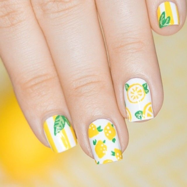 Brighten up your Monday with a vibrant fruit mani! This cute lemon nail art is by @mademoiselle__emma! ⠀ Tag your manis #ilnpfeature for a chance to be featured!