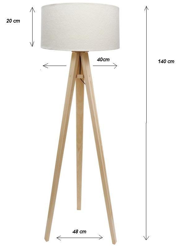 DOM.PL™ - lampa podłogowa trójnóg drewniany sosnowo beżowy