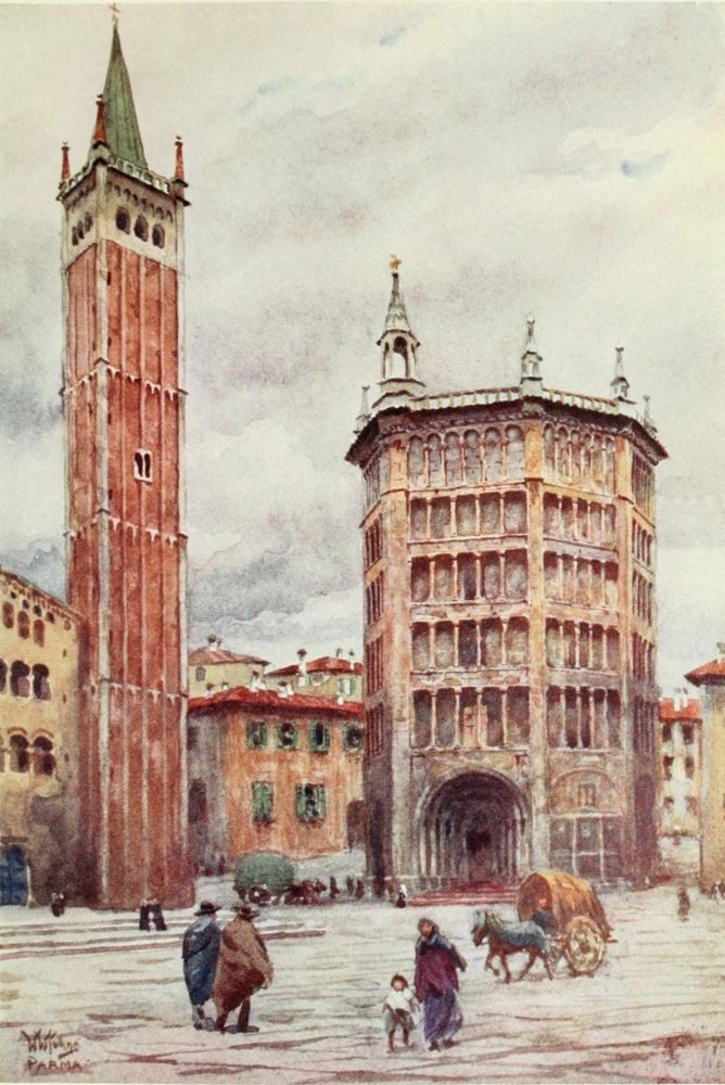 The Cathedral and Baptistery, Parma. Watercolour by William Wiehe Collins (1862-1951)