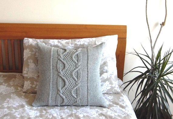 Cable Knit almohada cubierta gris claro lana 20 x 20.